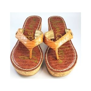 Sam Edelman Tan  Romy Thong Cork Wedge Sandals